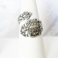 Spoon Ring - Silver Turtle Spoon Ring  -  Silver Turtle Ring -  Jewelry by BirdzNbeez