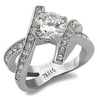CZ Round Brilliant  Stainless Steel Engagement Ring