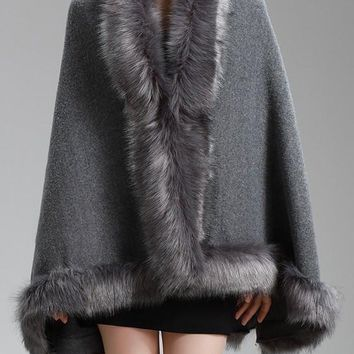 Grey Patchwork Faux Fur Oversize Fur Collar Fashion Cape Coat