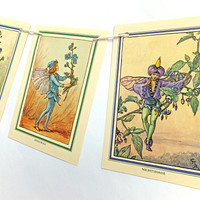 Flower Fairies Garland, Lilac fairies Bunting, Cicely Mary Barker, Purple Flower Fairy Bunting, Nursery Decor, Paper Banner. Fairy Pennants