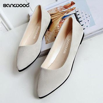 Women's Fashion Casual Flat Slip-on Shoes Metal Decor Elegant Pointed Toe Shoes