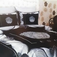 Queen size New 6pcs silver/black color versace bedding set bed cover