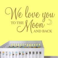 Vinyl Wall Decal Art Sticker - We love you to the moon... - Medium | WondrousWallArt - Housewares on ArtFire