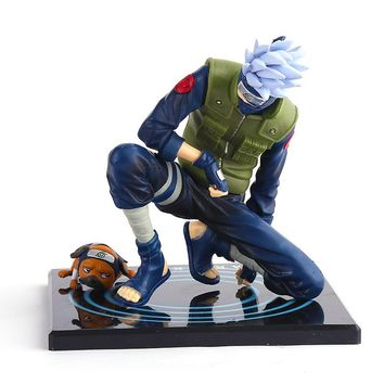 "J.G Chen FREE SHIPPING Japanese Animation NARUTO Shippuden Hatake Kakashi With Ninken Pakkun 15cm/6"" PVC Action Figure Anime"