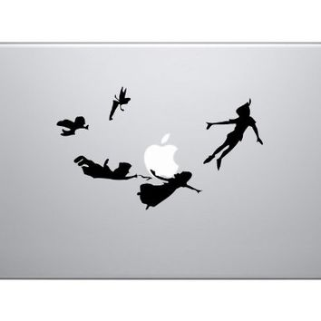 Peter Pan Flying with Friends Walt Disney Apple Whole Map Silhouette Macbook Symbol Keypad Iphone Apple Ipad Decal Skin Sticker Laptop