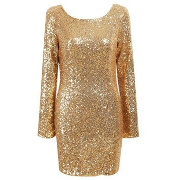 Gold Cowl Back Sequins Mini Dress