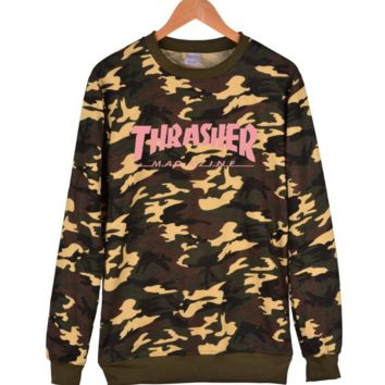 Trendy Thrasher Unisex Camouflage Pullover Sweater