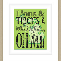 8x10 Michigan Print, Lions Tigers and Wings oh MI, State Art