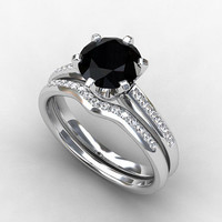 engagement ring set, black diamond engagement, Diamond band, wedding ring set, white gold, black diamond, curved, solitaire, gothic