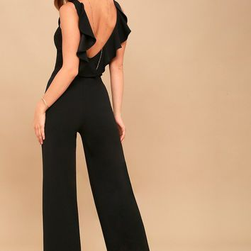Enamored Black Backless Jumpsuit