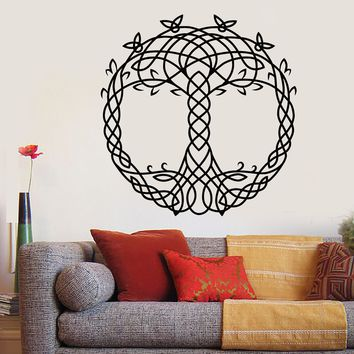 Vinyl Wall Decal Celtic Ornament Tree of Life Room Decoration Stickers (2649ig)