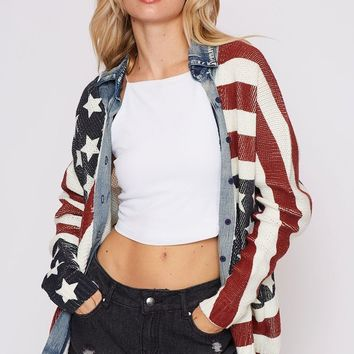 New American Flag Washed Sweater Shirts