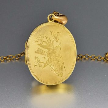 Victorian Gold Silver Swallow Locket Pendant Necklace