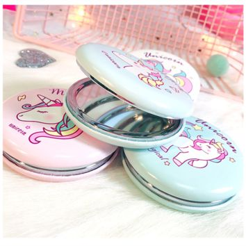 New Unicorn Party Souvenirs Rainbow Unicorn Beauty Hamburger Double-sided Mirror Wedding Gifts for Guests Souvenirs Party Favors