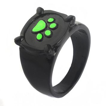 2017 hot sale Lady beetle girl black cat Noel green ring personality cat dog claw foot ring