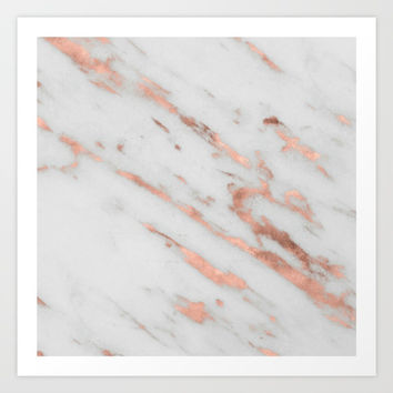 Marble - Rose Gold Marble with White Gold Foil Pattern Art Print by Nature Magick