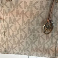 VLXZLP1 Authentic large micheal kors vanilla jet set mk gold hardware bag purse tote