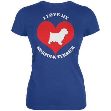 Valentines I Love My Norfolk Terrier Royal Juniors Soft T-Shirt