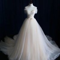 Off the Shoulder Light Champagne Princess Bridal Wedding Dress Gown with Belt