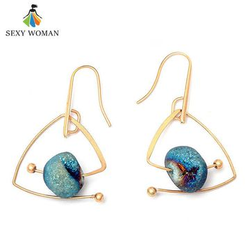 SEXY WOMAN 2017 New Blue Natural Stone Drop Earrings Vintage Gold Triangle Shape Dangle Earrings Jewelry For Women Party Gift