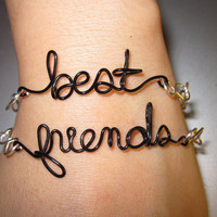 Best Friends Bracelets Silver Plated and Black Copper Wire Set of Two