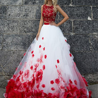 ysfs Fashion Red and White Wedding Dress