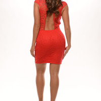 Sweetheart Lace Dress - Red