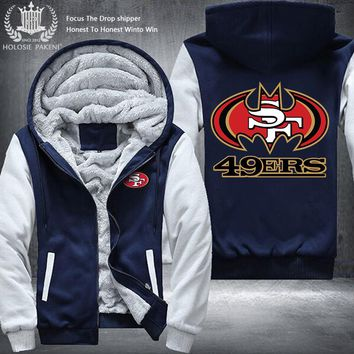 Dropshipping USA Size Unisex 49ers Hoodies Men Winter Thicken Fleece Coat Hooded Zipper Sweatshirt Jacket
