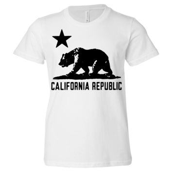 California Flag Oversize Black Silhouette Asst Colors Youth T-Shirt/tee