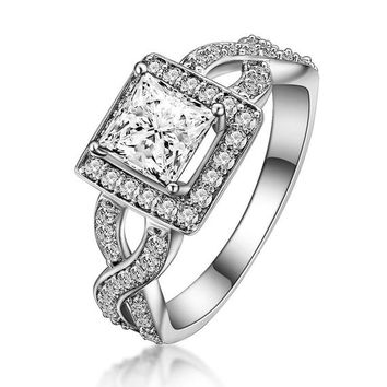 1 Ct (5.5 mm) Princess Cut Halo Engagement Ring in Intertwined Split Shank, Man Made Diamond, Art Deco Promise Ring, Anniversary Ring