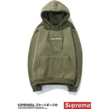 Hot Supreme F/W Box Logo Hoodie Sweater Hip-hop Sweatshirts Size S,M,L, XL