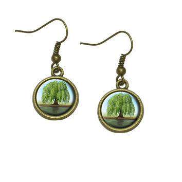 Old Weeping Willow Tree Dangle Drop Earrings