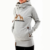 Casual deer hooded sweater