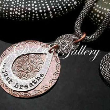 """D2E hand stamped mixed metal artisan statement necklace copper and silver """"just breathe"""""""