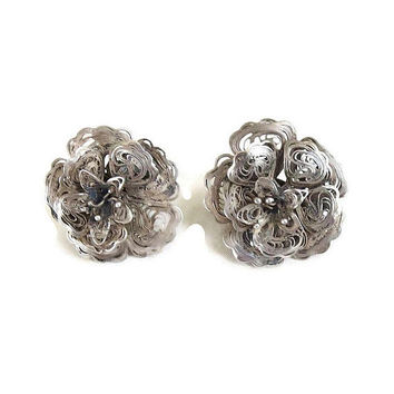 Sterling Silver Wire Filigree Flower Earrings Vintage Art Deco Period