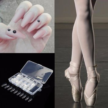 LCJ Trendy Ballerina Nails Tips Long Clear False Nails ABS Artificial Full Cover Fake Nails DIY Acrylic Nail Art Tip 10 Sizes