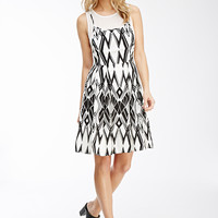 Abstract Diamond Print Combo Dress