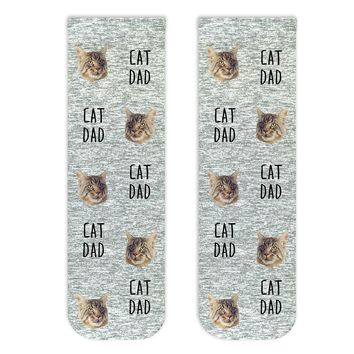 Custom Face Socks for the Cat Dad, All Over Cat Face Design Custom Printed on Crew Socks