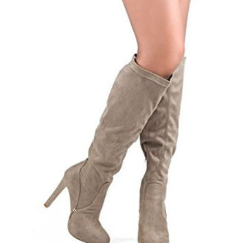 Steve Madden Suede Knee High Stiletto Boots (Taupe)