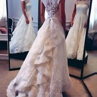 Vintage Lace Wedding Dress with Sheer Back Bridal Dress Custom Size 2 4 6 8 10