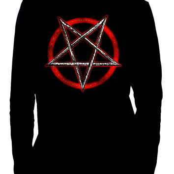Inverted Pentagram Men's Long Sleeve T-Shirt Occult Clothing