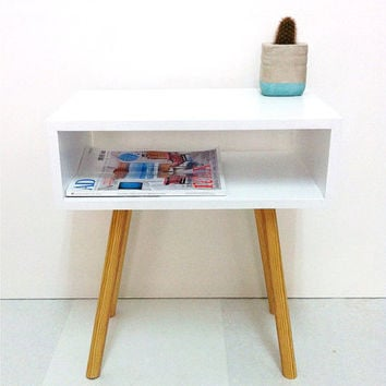 Mid Century Modern Tables, Midcentury Bedside Table, Scandinavian Table, Retro Nightstand, Coffee Table, White Table