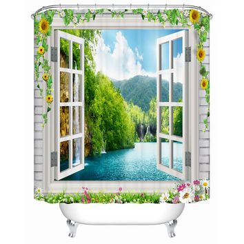 3d Fabricf Shower Curtain with Window Scenery Waterproof Polyester Bathroom Curtain for Decor Modern Home Accessary