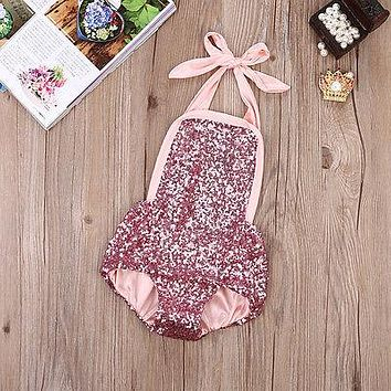 Newborn Infant Baby Girl Lace Tutu Romper Sequins Halter Jumpsuit Onesuits Outfits 0-24M