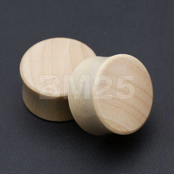 A Pair of Crocodile Wood Organic Double Flared Ear Gauge Plug