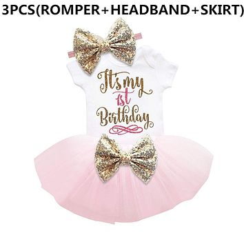 New Baby Girl Clothing Summer Sequin Bow Tutu Newborn Dress (Tops+Headband+Dress) 3pcs Clothes Bebe First Birthday Elsa Costumes