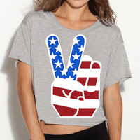 American Peace Sign Boxy Tee
