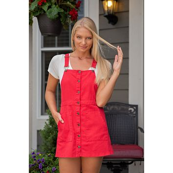 Kiss Me You Fool Denim Overall Jumper: Red