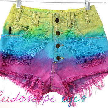 Vintage High Waist RAINBOW OMBRE Dip Dyed Denim Cut Off Shorts XS