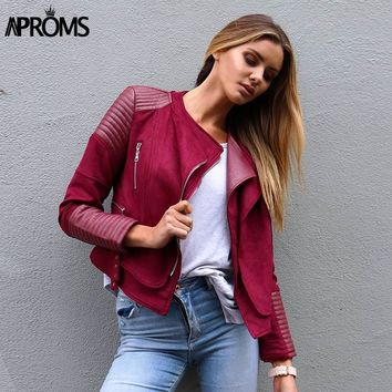 Aproms Faux Pu Leather Suede Patchwork Jacket Autumn Winter Women 2018 Side Buckles Outwear